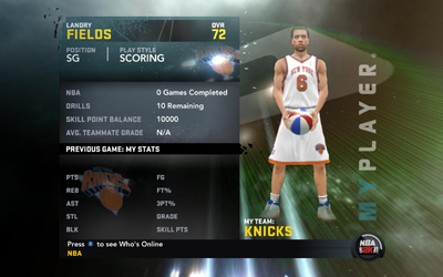 NBA 2K11 Landry Fields My Player Patches in Knicks