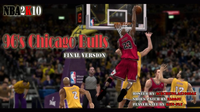 96's Chicago Bulls Patches for NBA 2K10.