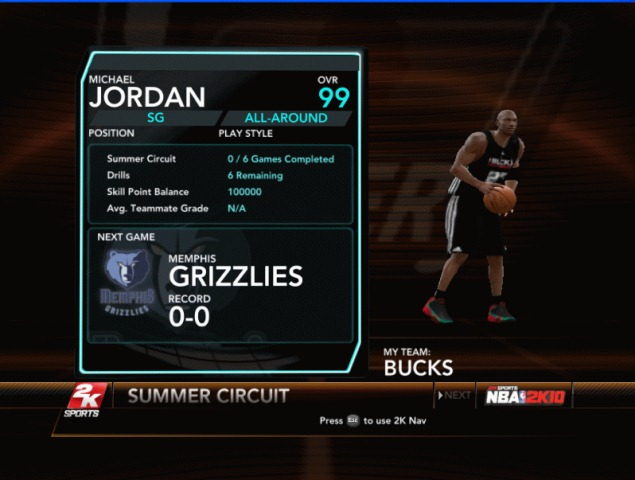 Michael Jordan on My Player Mode Patch for NBA 2K10.